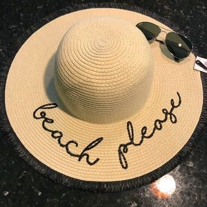 "Accessories - NWT ""Beach Please"" Floppy Straw Sun Hat"